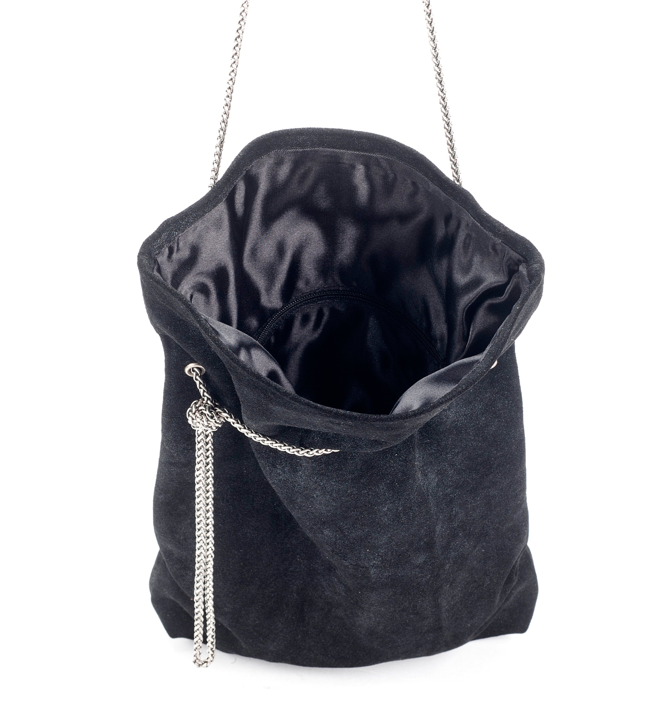 Black suede elegant evening metal chain purse woman small bag