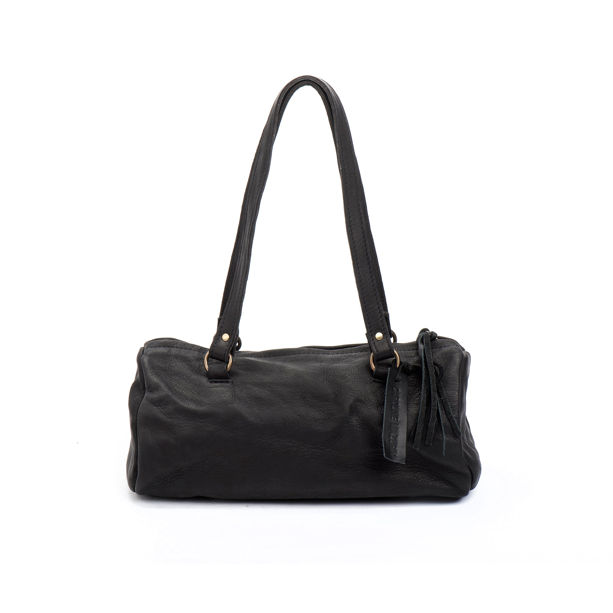 Black Leather Shoulder Handbag medium perfect size Italian leather woman bag