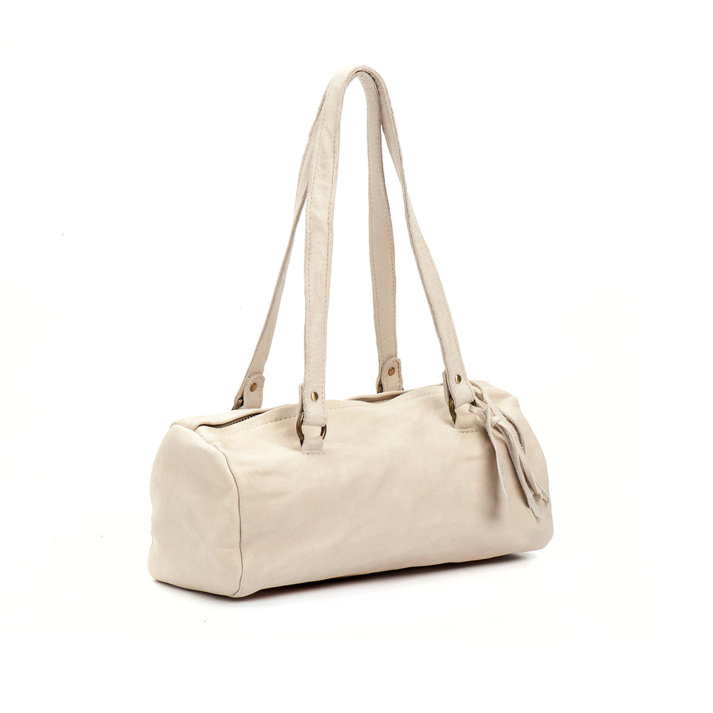 White Leather Shoulder Handbag medium perfect size Italian leather woman bag