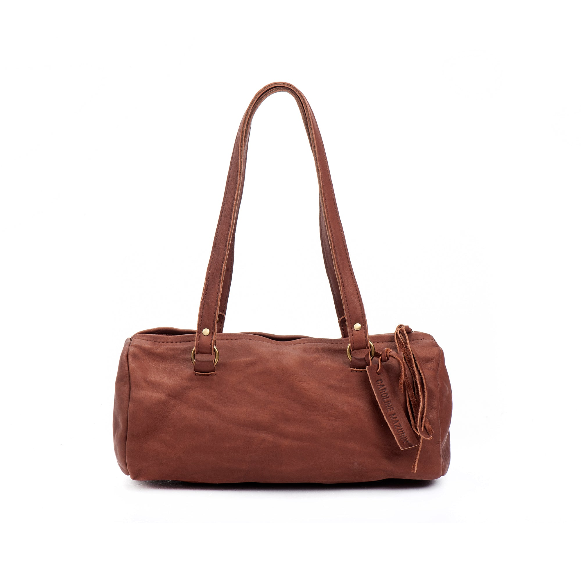 Brick Brown Leather Shoulder Handbag medium perfect size Italian leather woman bag