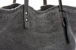 Oversize Grey Canvas Tote with leather handles. Yoga Bag