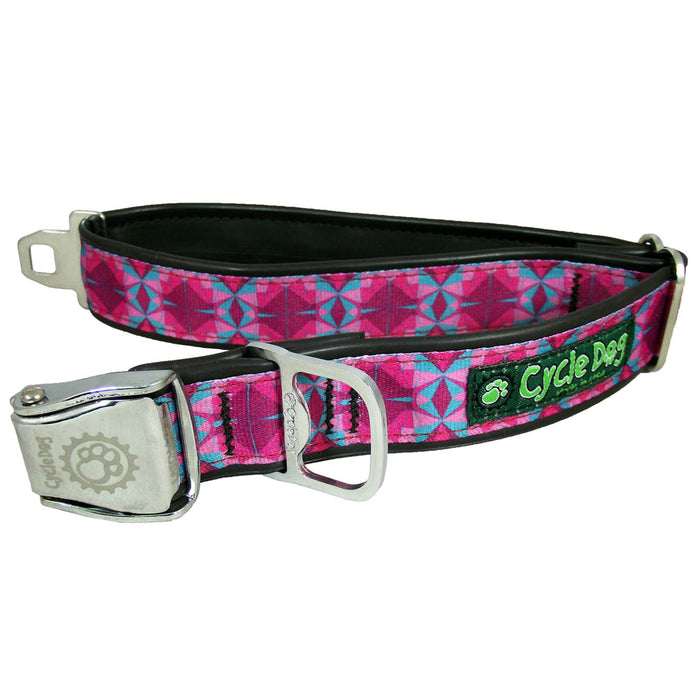 Eco-Dog Collar, Fuchsia/Teal Kaleidoscope