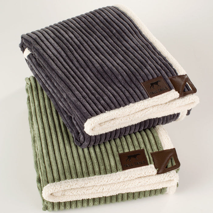 Corded Fleece Blanket, Charcoal and Cream