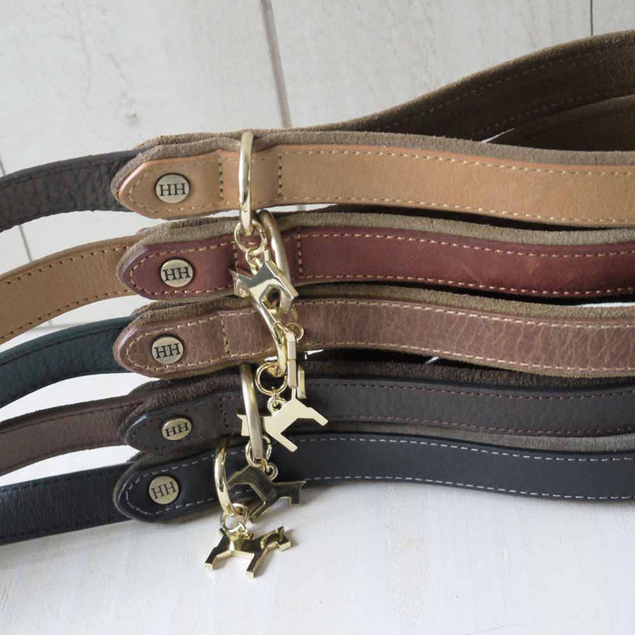 Leather Lead, Dark Brown- Camel