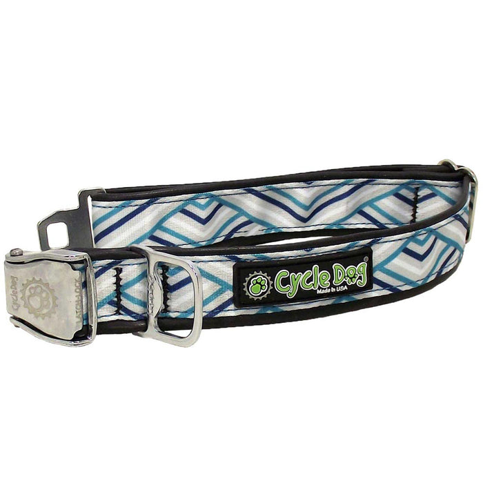 Eco-Dog collar, Teal Grey Diagonal
