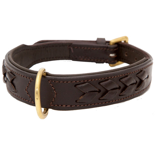 Leather Weave Detail Dog Collar -  Brown (DCS 118)