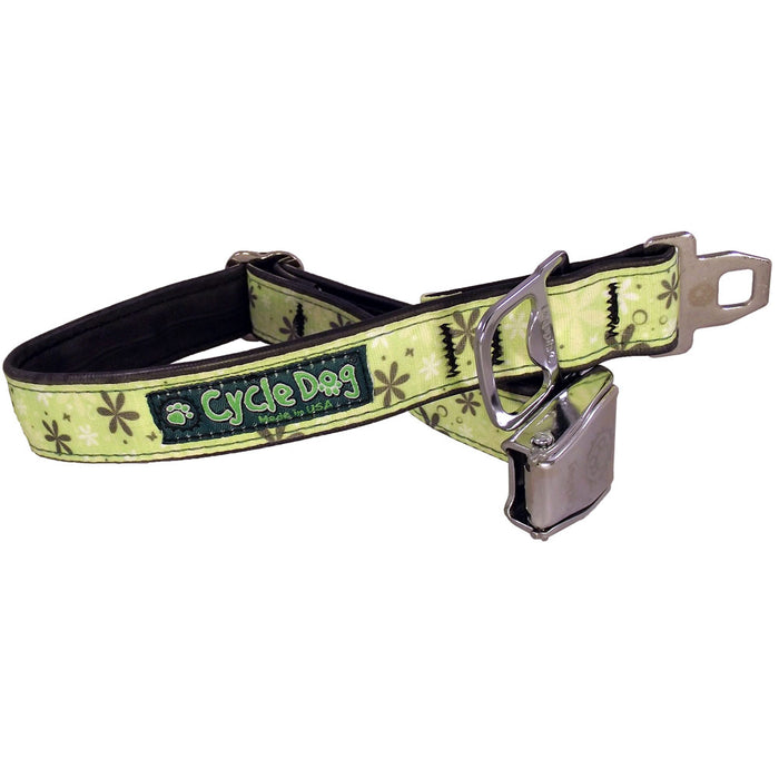 Eco-Dog collar, Apple Green Retro Flowers