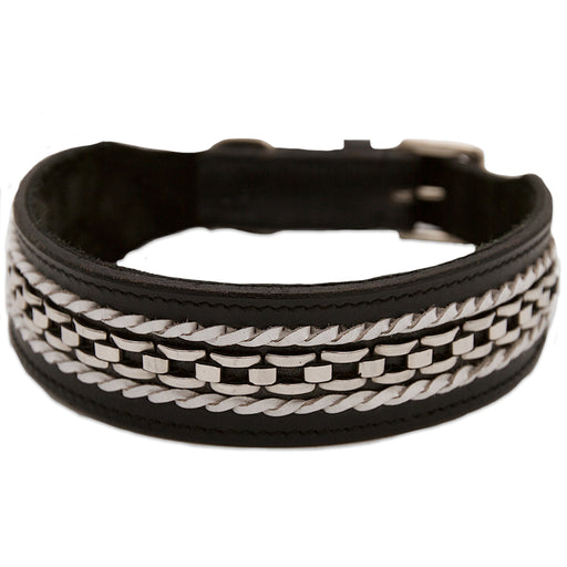 Black Collar with Chain and White Braid