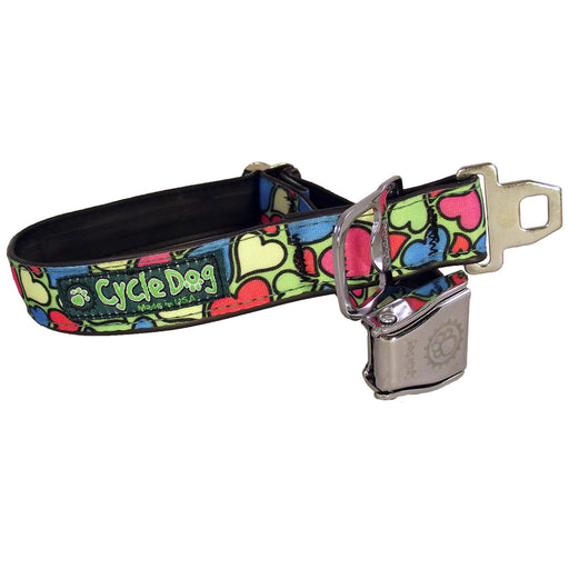 Eco-Dog Collar, Green base Hearts