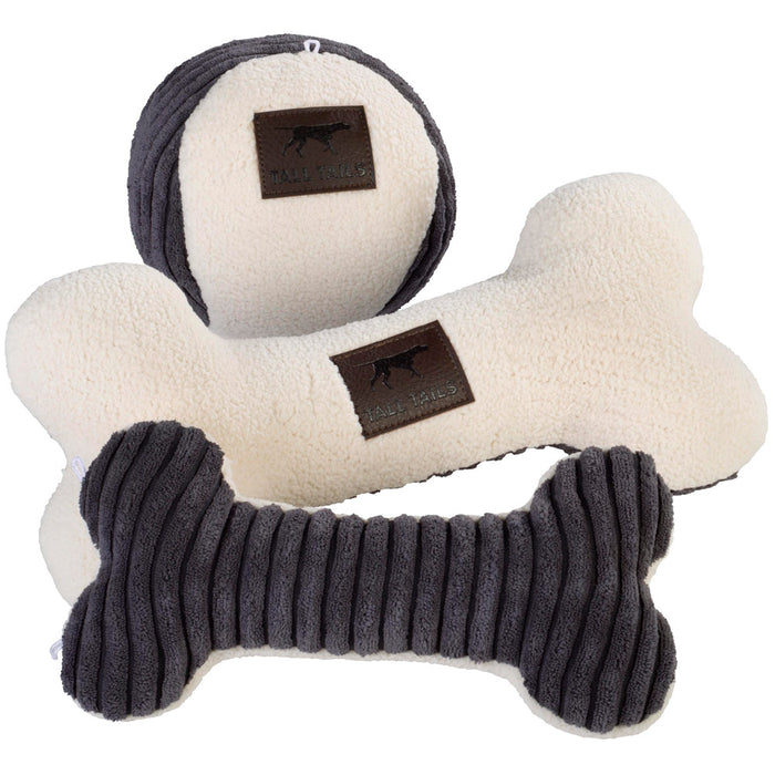 Bone Toy with Squeaker, Charcoal and Cream