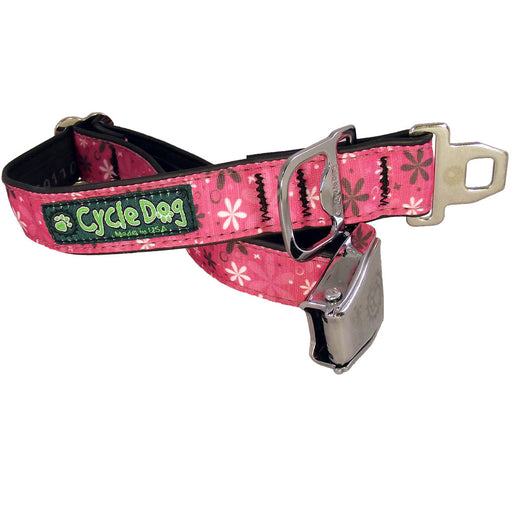 Eco-Dog Collar, Hot Pink Retro Flowers