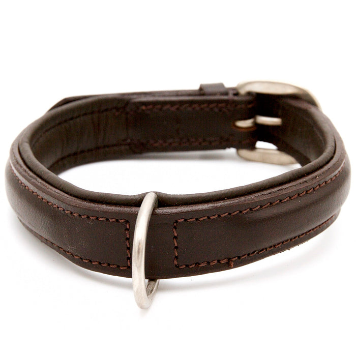 Plain Brown Leather Dog Collar - Extra D Ring