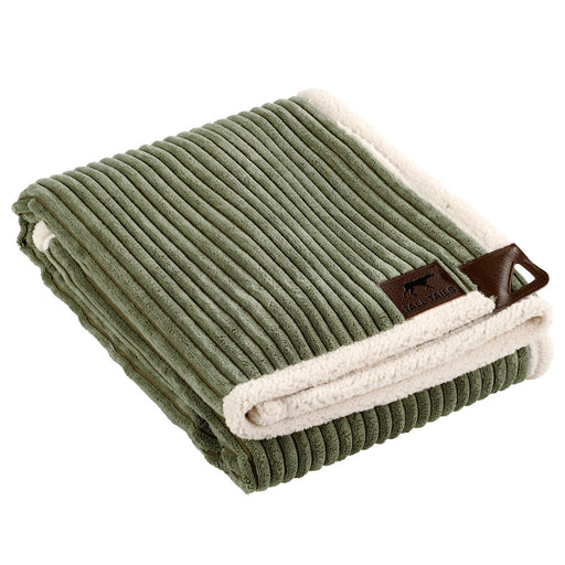 Corded Fleece Blanket, Sage and Cream