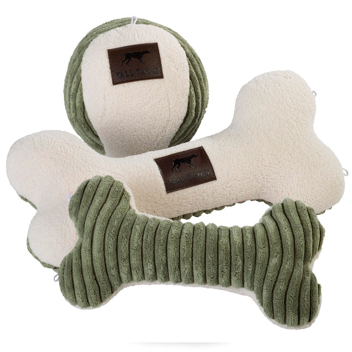 Bone Toy with Squeaker, Sage and Cream