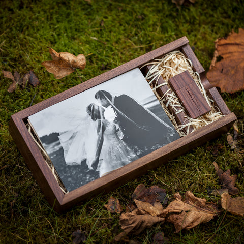 Woodland USB & Rectangle Photo Slide Box