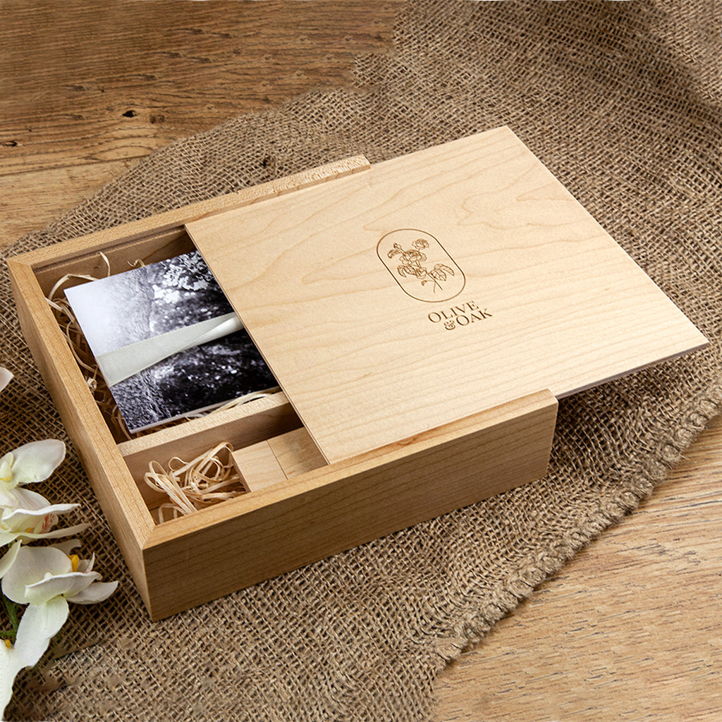 Woodland USB & Square Photo Slide Box Maple 7 x 5""
