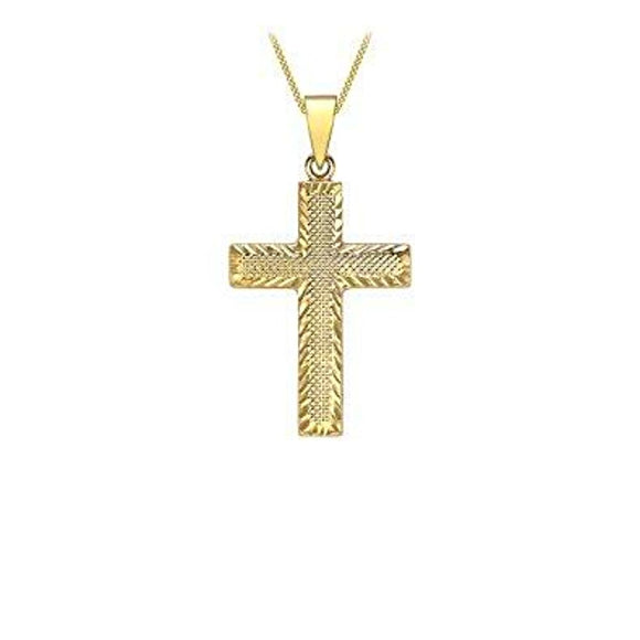 9 ct (375) Yellow Gold Diamond Cut Textured 17 x 32.2 mm Cross Pendant on Curb Chain 46 cm/18 Inch
