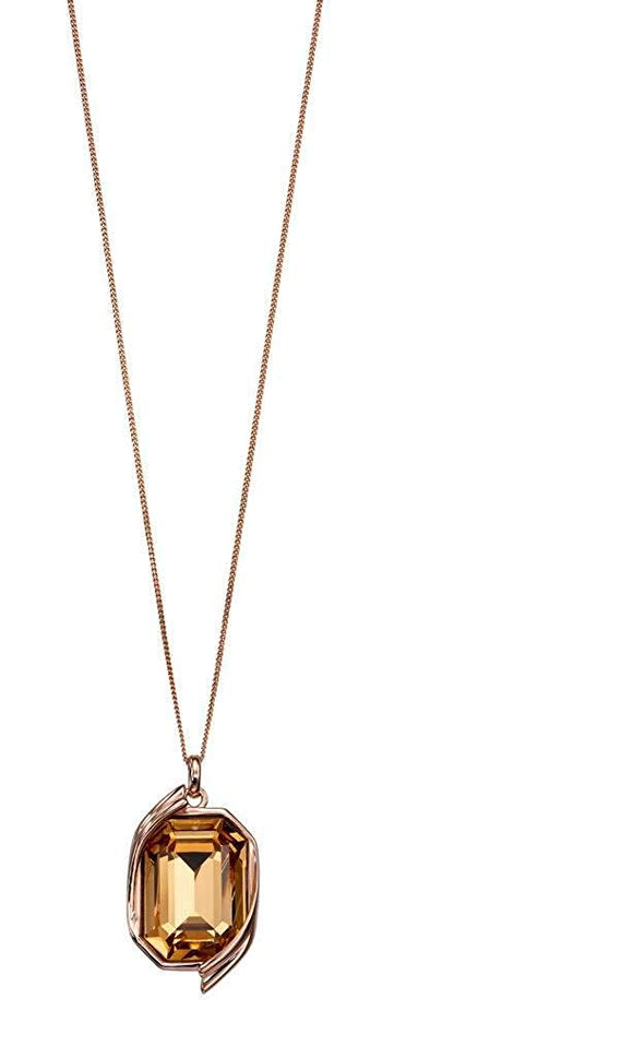 Sterling Silver Colorado Topaz Rose Gold Ribbon Detail Pendant