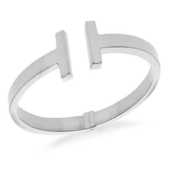 Genuine Sterling Silver T Torque Bangle