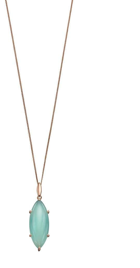 Sterling Silver Marquise Cab Aqua Chalcedony with Rose Gold Plate Pendant