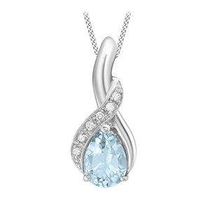9ct White Gold Diamond and Blue Topaz Drop Pendant on Chain Necklace of 46cm/18""