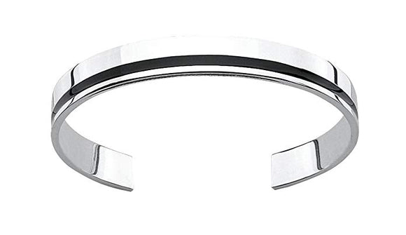 Fred Bennett Sterling Silver Mens Men'S Flat Torque Style Black Resin Bangle