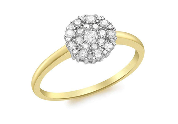 Genuine 9ct Yellow Gold 0.50ct Diamond Cluster Ring