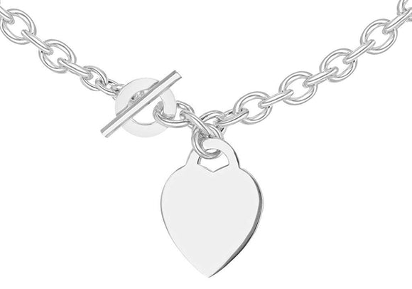 Genuine Sterling Silver Heart Tag T-Bar Belcher Chain 41cm/16