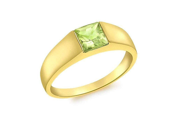 Genuine 9ct Yellow Gold Square Peridot Dress Ring