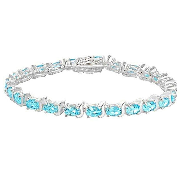 Genuine Sterling Silver Blue Topaz Tennis Bracelet 19cm/7.5