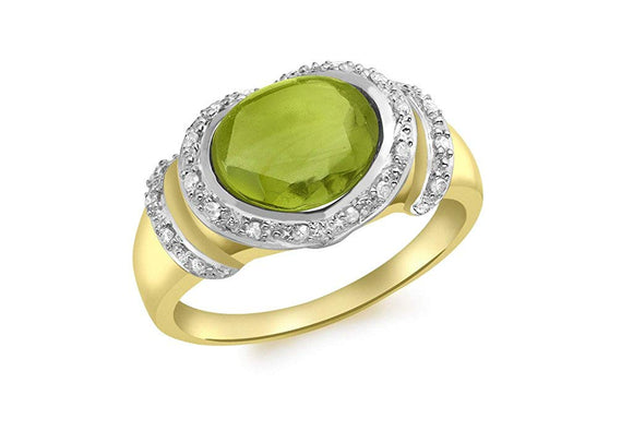Genuine 9ct Yellow Gold Diamond and Peridot Ring