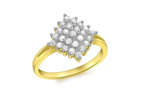 Genuine 9ct Yellow Gold Diamond Cluster Ring