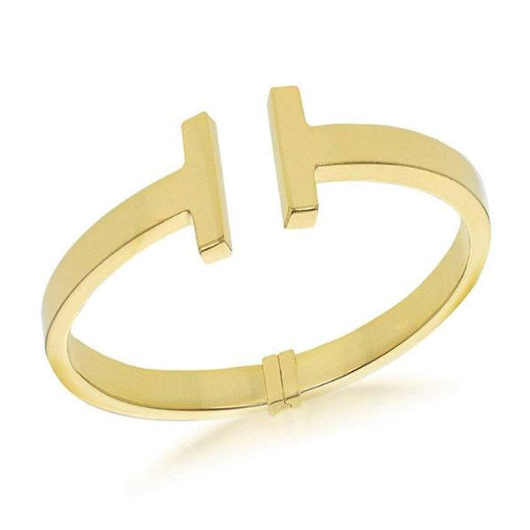 Genuine Sterling Silver Yellow Gold Plated T Torque Bangle