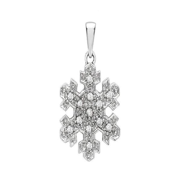 Genuine 9ct White Gold Diamond Snowflake Pendant