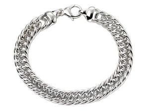 Genuine Sterling Silver Heavyweight Close Curb Bracelet 22cm