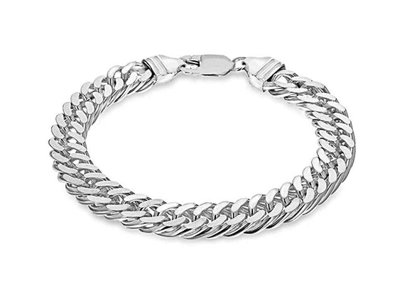 Genuine Sterling Silver Diamond Cut Double Curb Bracelet 20cm/8