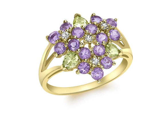 Genuine 9ct Yellow Gold Amethyst and Peridot Ring