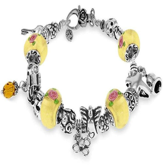 Genuine Sterling Silver Pink and Yellow Multi Bead Charm Bracelet 19cm/7.5