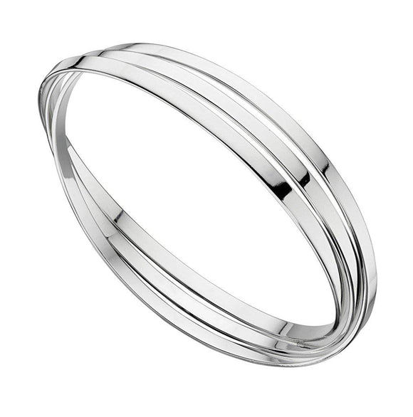 Hallmarked 925 Sterling Silver Triple Russian Wedding Bangle