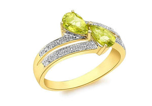 Genuine 9ct Yellow Gold Diamond and Peridot Crossover Ring