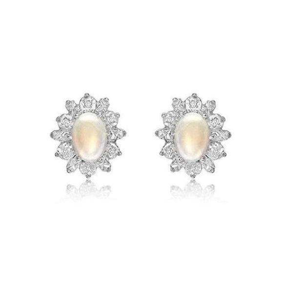 Women's 9 ct Yellow Gold Diamond/Opal Cluster Earrings