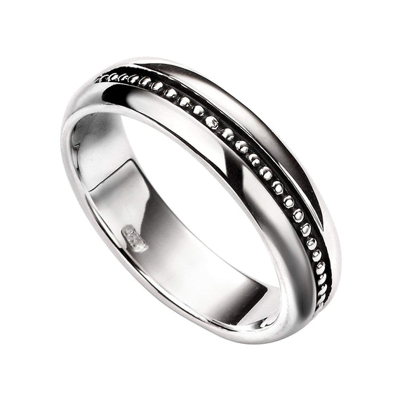 Elements Silver Women's Inset Oxidised Pattern Ring