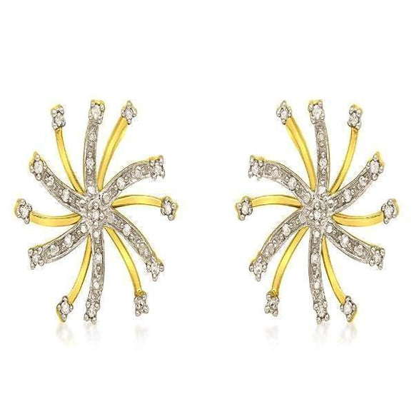 9ct Yellow Gold 0.10ct Diamond Snowflake Stud Earrings