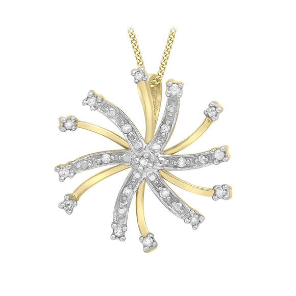 9 ct Yellow Gold 0.18 ct Diamond Snow Flake Pendant on Curb Chain Necklace of 46 cm/18 inch