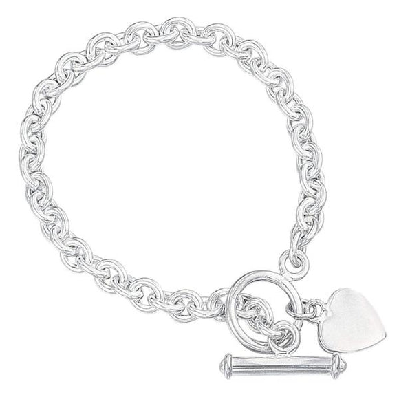 Elements Silver Heart Charm Toggle Sterling Silver Bracelet