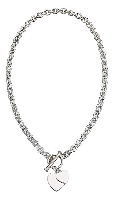Elements Silver 925 Ladies' Heart Tag T-Bar Sterling Silver Necklace of 46 cm