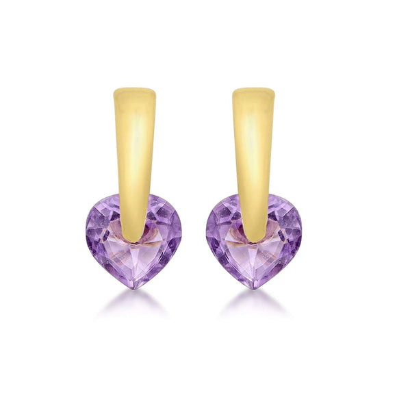 Gold 9ct Yellow Gold Amethyst Heart Stud Earrings