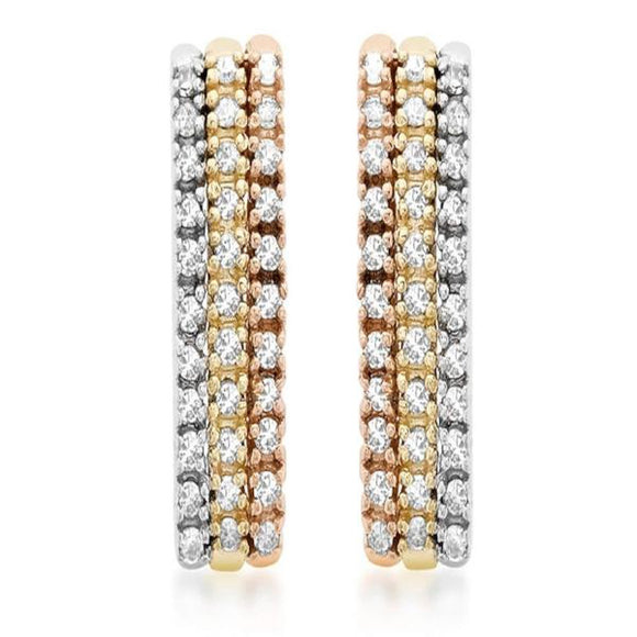 Genuine 9ct 3 Colour Gold Pave Set Diamond 3 Row Earrings