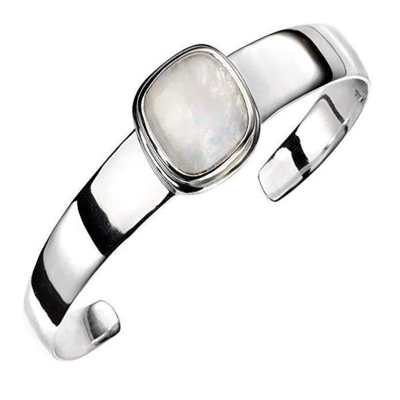 Elements Silver Rainbow Moonstone Bangle