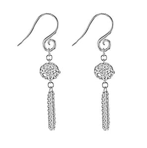 IT Diamonds Rhodium Plated Brass Diamond Diva Chains Hanging from Ball Drop Earrings